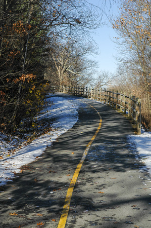 bikeway: Spur on Blackstone River Bikeway climbs out of river valley