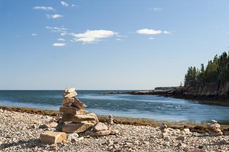 balanced rocks: Carefully balanced rocks beach Acadia National Park