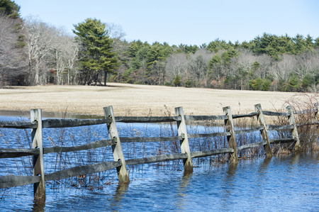 Field flooded by heavy rains at Borderland State Park Stock fotó