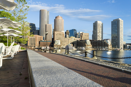 View of Bostons Rowes Wharf from Harborwalk on Fan Pier
