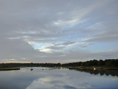 inlet bay: Near mouth of Mattapoisett River at sunrise Stock Photo