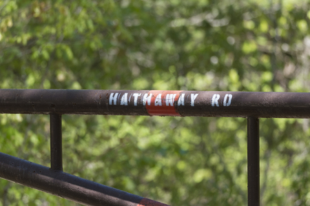 back gate: Stenciled sign on gate to access road in Freetown State Forest
