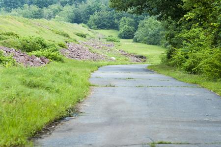 Road from top of Manchester Reservoir dam in Attleboro, Massachusetts