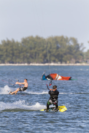 tampa bay: Tampa Bay, Florida, USA - February 28, 2011: Traffic rules apply at busy kiteboarding spot on Tampa Bay Editorial