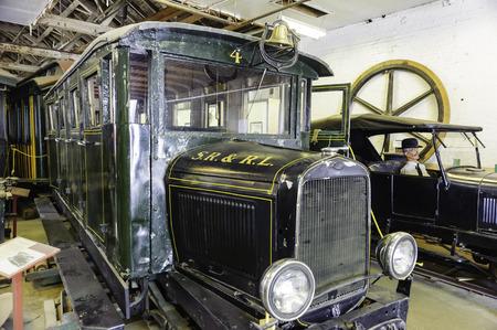 narrow gauge railroads: Portland, Maine, USA - August 10, 2009: Old trolley on display at Maine Narrow Gauge Railroad Co & Museum