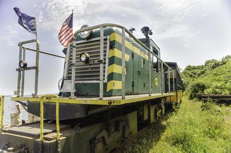 narrow gauge railroad: Portland, Maine, USA - August 10, 2009: Train from Maine Narrow Gauge Railroad Co & Museum at the far end of its run
