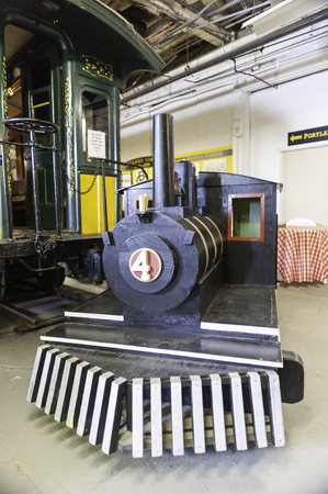 narrow gauge railroad: Portland, Maine, USA - August 10, 2009: Plywood steam engine for children at the Maine Narrow Gauge Railroad Museum Editorial