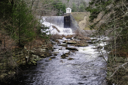 downstream: Waterfall at Barden Reservoir seen from downstream Stock Photo