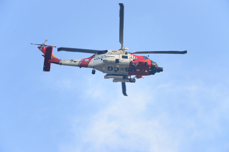 Fairhaven, Massachusetts, USA - October, 6, 2012: U. S. Coast Guard MH-60 Jayhawk search and recovery helicopter