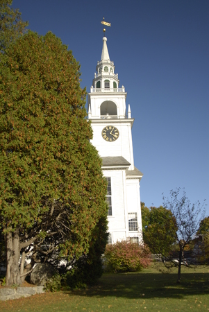 Hancock, New Hampshire, USA - October 14, 2007: First Congregational Church of Hancock in autumn