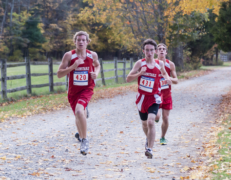 Easton, Massachusetts, USA - October 25, 2007: Group of cross country runners racing along dirt road in Borderland State Park 新聞圖片
