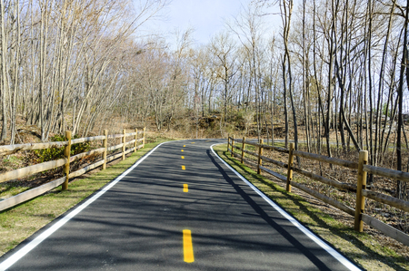 ciclovia: Curve on Blackstone River Bikeway in early spring