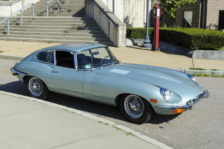 Fairhaven, Massachusetts, USA - July 4, 2017: Jaguar E-Type (XK-E) coupe at Fairhaven Fourth of July Car Cruise