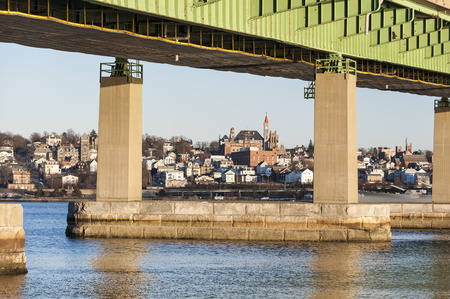 Braga Bridge framing Fall River hillside overlooking Taunton River