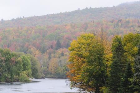 Stretch of Connecticut River near Mount Orne Bridge on rainy morning