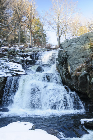 Water cascading down rocky hillside at  Devils Hopyard State Park