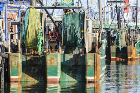 fv: New Bedford, Massachusetts, USA - March 15, 2017: Nets on stern of FV Hera docked in New Bedford Editorial