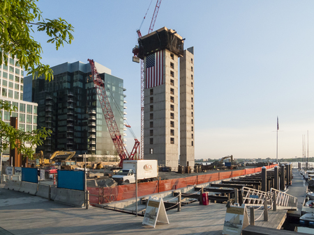 East Boston, Massachusetts, USA - May 26, 2016: Construction on Harborwalk and 50 Liberty Project in Seaport District