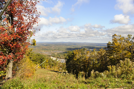 Autumn view across lakes and hills from Wachusett Mountain