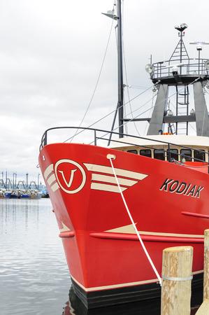 New Bedford, Massachusetts, USA -  November 12, 2017: Commercial fishing vessel Kodiak docked in New Bedford harbor