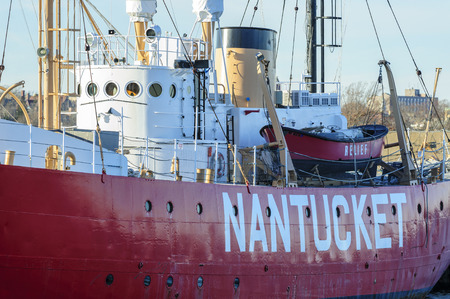 New Bedford, Massachusetts, USA - December 21, 2017: Newly repainted Nantucket Lightship docked in New Bedford harbor Editorial