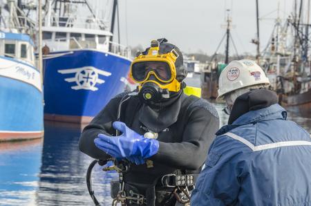 New Bedford, Massachusetts, USA - December 26, 2017: Diver Thomas