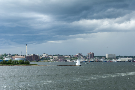 New Bedford, Massachusetts, USA - June 22, 2007: New Bedford inner harbor with rain storm threatening