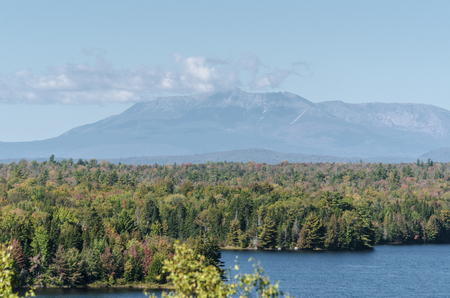 View from the Cole Overlook across Salmon Stream Lake toward 5267-foot Mount Katahdin in Baxter State Park, the northern end of the Appalachian Trail. The overlook is on the northbound side of I-95 at mile marker 252.