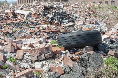 Growing debris field from factory fire in Fall River, Massachusetts Foto de archivo - 102010292