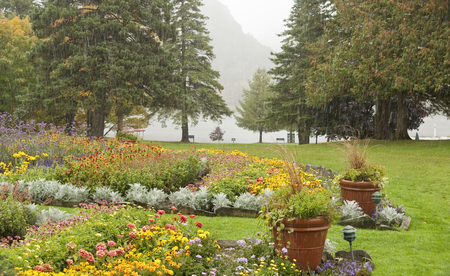Dixville Notch, New Hampshire, USA - October 1, 2009: Rain falling on the colorful gardens at The Balsams resort. A major redevelopment of the property was in the planning stages in 2017. Editorial