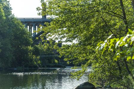 Vehicular and pedestrian bridges crossing Blackstone River in Cumberland, Rhode Island