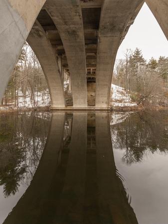 Arch of Washington Highway bridge over Stillwater Pond in Smithfield, Rhode Isalnd
