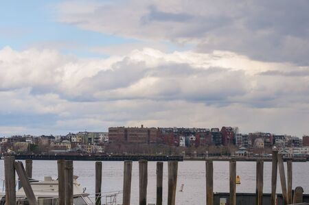 Boston, Massachusetts, USA - April 13, 2008: East Boston skyline on cloudy afternoon in early spring