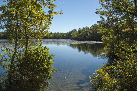 Leach pond in Borderland State Park on early autumn day