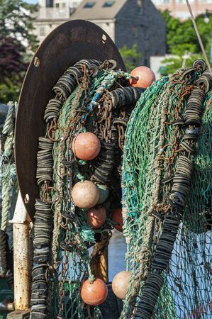 Net on net drum aboard trawler in New Bedford harbor Imagens
