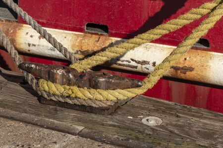 Lines wrapped around horn cleat on New Bedford dock