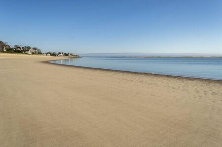 Windless morning on Cape Cod beach Stok Fotoğraf