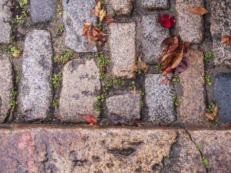 Sett stones used to pave historic street in New Bedford Massachusetts
