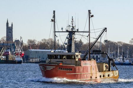 New Bedford, Massachusetts, USA - November 30, 2019: Commercial fishing boat Freedom during sea trial in harbor