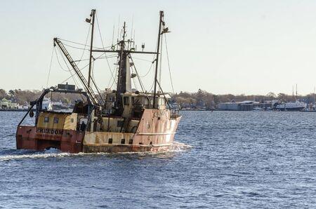 New Bedford, Massachusetts, USA - November 30, 2019: Scalloper Freedom making another run during sea trials