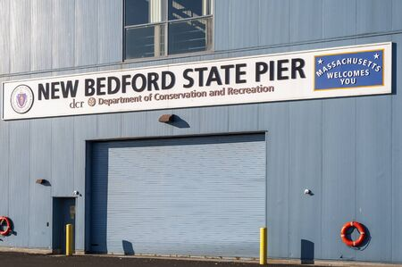 New Bedford, Massachusetts, USA - November 30, 2019: Welcome sign on recently renovated  State Pier building