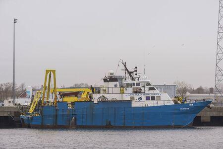 New Bedford, Massachusetts, USA - December 10, 2019: Offshore survey vessel Shearwater docked at Marine Commerce Terminal Redakční