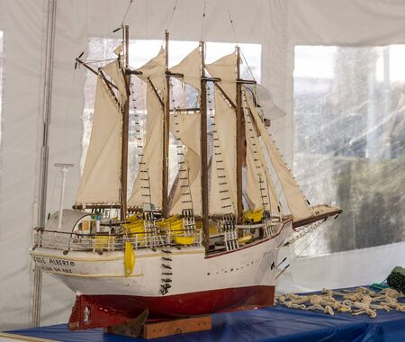 New Bedford, Massachusetts, USA – September 28, 2019: Model of Portuguese fishing boat displayed at the Big Boats Little Boats Festival at the New Bedford Fishing Heritage Center