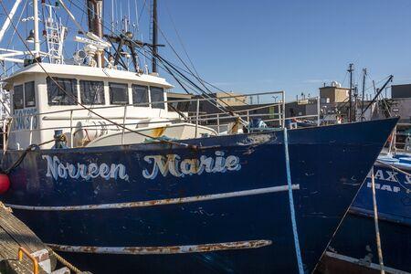 New Bedford, Massachusetts, USA – September 28, 2019: Scalloper Norreen Marie, hailing port Cape May, New Jersey, docked in New Bedford Redakční