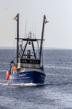 New Bedford, Massachusetts, USA - August 20, 2019: Lobster boat Debbie Ann, hailing port Point Judith, Rhode Island, coming out of Buzzards Bay Redakční