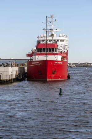 New Bedford, Massachusetts, USA - September 5, 2019: Survey vessels Fugro Enterprise (front) and DOF Geosea (rear) docked at Marine Commerce Terminal