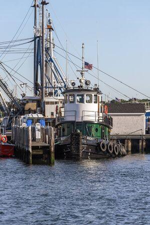 Fairhaven, Massachusetts, USA - September 8, 2019: Tug Bucky docked at Fairhaven Shipyard Redakční