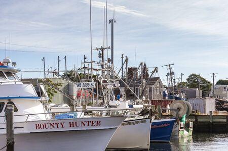 Fairhaven, Massachusetts, USA - September 8, 2019: Variety of small fishing boats docked at Union Wharf on summer morning Redakční