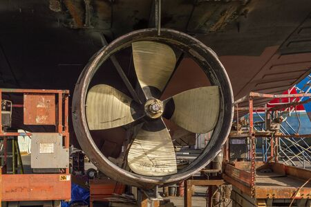 Fairhaven, Massachusetts, USA - September 8, 2019: Propeller on hauled out scalloper Paul & Michelle at Union Wharf