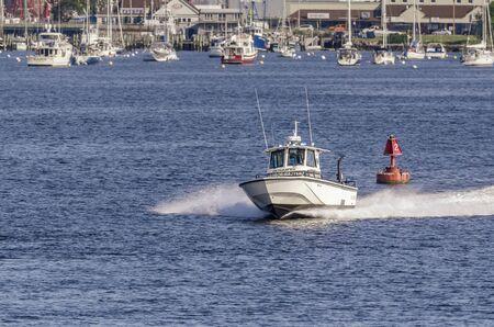 Fairhaven, Massachusetts, USA - August 5, 2019: Fairhaven Harbormaster responding to call from outer harbor Redakční